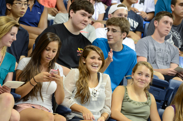 The start of a new adventure... incoming freshmen were welcomed at Convocation held in Gample Pavilion on Friday. (Ariel Dowski '14 (CLAS)/UConn Photo)
