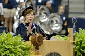 President Susan Herbst officially welcomed the incoming class to the University during Convocation. (Peter Morenus/UConn Photo)