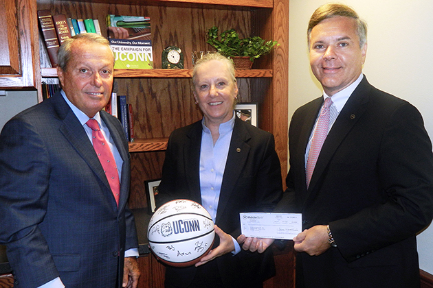 From left, John Martin, president, University of Connecticut Foundation, Harriet Munrett Wolfe, executive vice president, general counsel, and secretary of Webster Bank, and Jerry Plush, president and COO of Webster Bank.