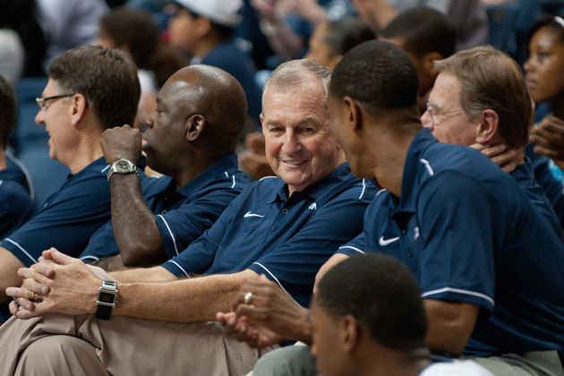 Men's Basketball Head Coach Jim Calhoun speaks with members of the coaching staff during UConn Basketball First Night at Gampel Pavilion on Oct. 14, 2011. (Peter Morenus/UConn Photo)