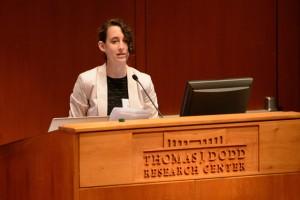 Julianne Norton gives her Holster First Year Projects presentation at Konover Auditorium on Sept. 20, 2012. (Peter Morenus/UConn Photo)