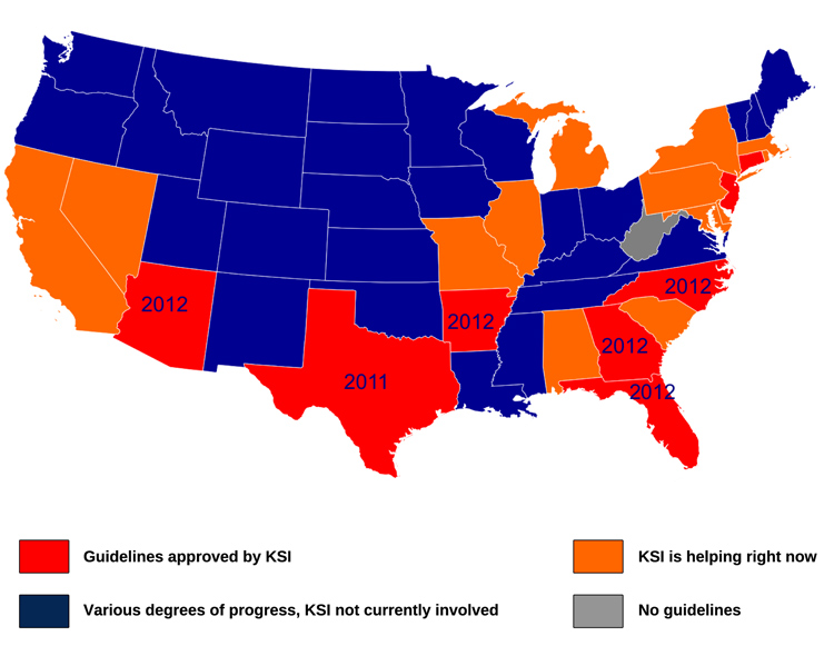 Heat acclimatization guidelines for high school athletes by state. Click to enlarge. (Graphic courtesy of KSI)