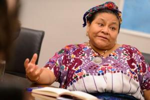 Rigoberta Menchú Tum speaks with students. (Peter Morenus/UConn Photo)