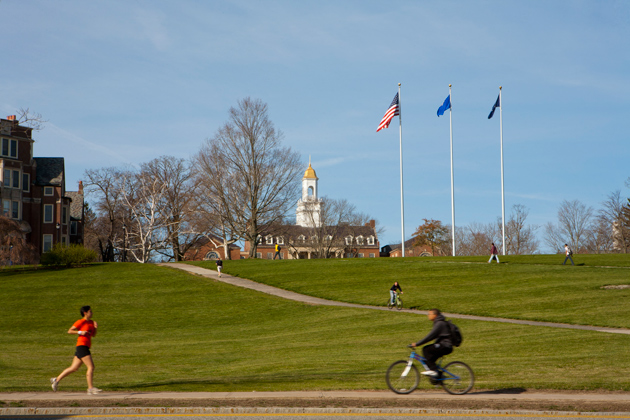 Photos of the Great Lawn with the Wilbur Cross Building in the background. (Sean Flynn/UConn Photo)