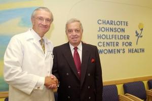 Peter Deckers, left, and Fred Hollfelder, at the dedication of the Charlotte Johnson Hollfelder Center for Women's Health at the UConn Health Center. (Peter Morenus/UConn Photo).