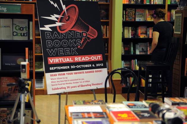 Books are laid out and cameras are set up for Banned Books Week readings on Sept.5, 2012. (Max Sinton/UConn Photo)