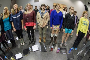 Choir members practice in the music building prior to upcoming concert. (Ariel Dowski '14 (CLAS)/UConn Photo)