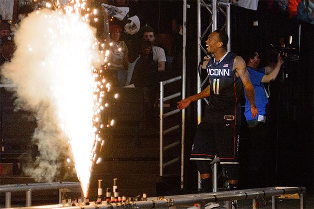 Ryan Boatright enters Gampel Pavilion during the UConn Basketball First Night event at Gampel Pavilion on Oct. 12, 2012. (Peter Morenus/UConn Photo)