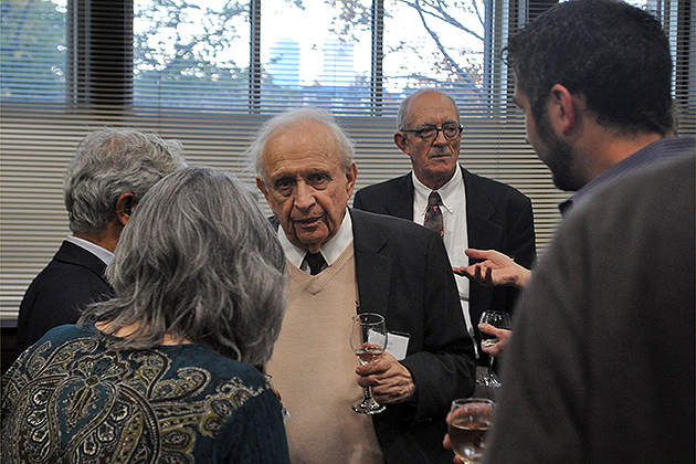 Nobel Prize winner Roy Glauber of Harvard spoke at UConn on Oct. 12 about his work on quantum optics. (John Babina for UConn)