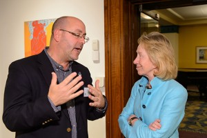 Joseph Birody, associate director for leadership development in the Divsion of Student Affairs spoke with Goodwin in the Jorgensen Gallery.(Peter Morenus/UConn Photo)