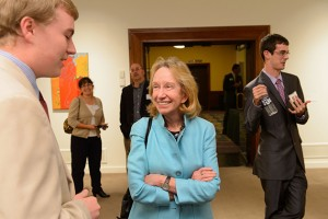 Doris Kearns Goodwin speaks with Kyle Constable '16 (CLAS), left at the Jorgensen Gallery on Oct. 18, 2012. (Peter Morenus/UConn Photo)