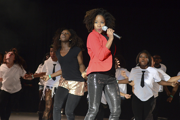 Students from the African American Cultural Center perform Destiny's Child songsin a performance worthy of first place in the annual lip sync contest. (Ariel Dowski/UConn Photo)