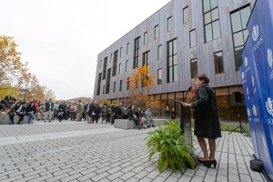 President Susan Herbst speaks during the dedication ceremony of Oak Hall on Oct. 24, 2012. (Peter Morenus/UConn Photo)