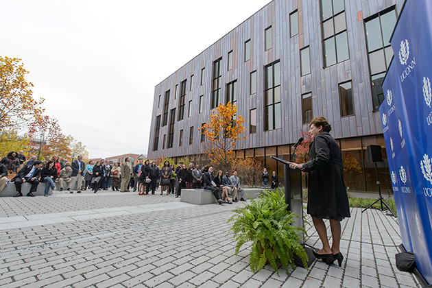 President Susan Herbst speaks during the dedication ceremony of Oak Hall on Oct. 24, 2012. (Peter Morenus/UConn Photo)