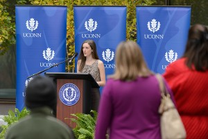 Monica Mula '14 (CLAS) speaks during the dedication ceremony of Oak Hall on Oct. 24, 2012. (Peter Morenus/UConn Photo)