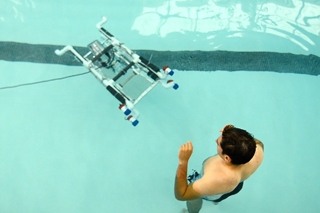 The Cao research team has also built a prototype underwater submersible. (Bret Eckhardt/UConn Photo)