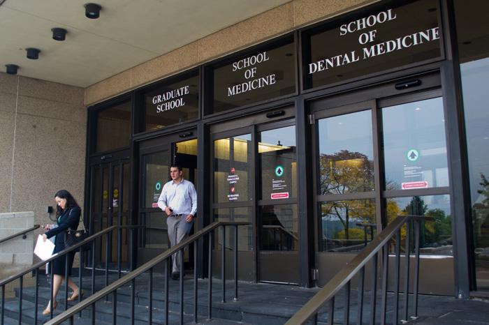 UConn Health Center academic building entrance (Tina Encarnacion/UConn Health Center Photo)