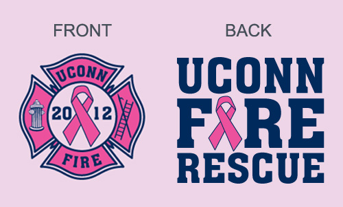 The pink breast cancer awareness shirts custom-made for the UConn Fire Department feature a chest patch (left) and full artwork on the back (right).