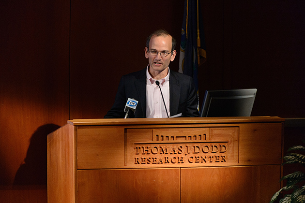 Jeremy Pressman, associate professor of Political Science moderates a panel discussion on election results at Konover Auditorium on Nov. 7, 2012. (Peter Morenus/UConn Photo)