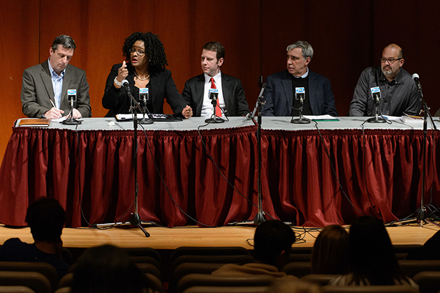 A panel of UConn experts convened at Konover Auditorium on Nov. 7 to discuss the election results. From left, political science professors Vincent Moscardelli, Shayla Nunnally, Stephen Dyson, Ronald Schurin, and Charles Venator Santiago. (Peter Morenus/UConn Photo)