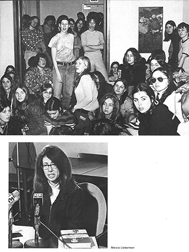 Photos from the 1975 Nutmeg Yearbook illustrate support for women's issues on campus in the 1970s.