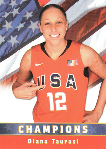 Three-time Olympic gold medal winner Diana Taurasi '05 (CLAS) features on a U.S. Olympic Women's Basketball Team card.