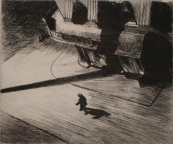 'Night Shadows,' by Edward Hopper (1921), etching, a purchase of the Louise Crombie Beach Memorial Fund.