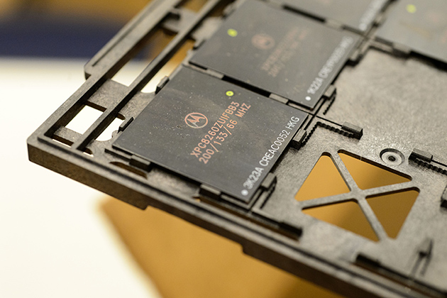 A counterfeit microprocessor. (Peter Morenus/UConn Photo)