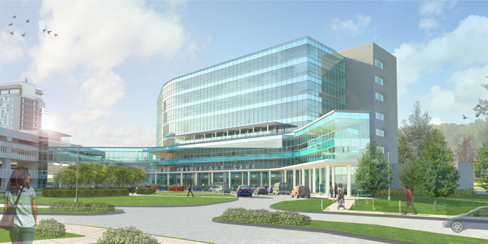 Construction started on a new state-of-the-art medical office building, known as the Ambulatory Care Center, that will serve as the anchor to the UConn Health Center's outpatient care services on the Farmington campus. (Architect's rendering)