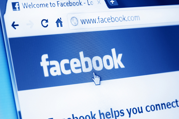 Facebook main webpage on Google Chrome browser on LCD screen