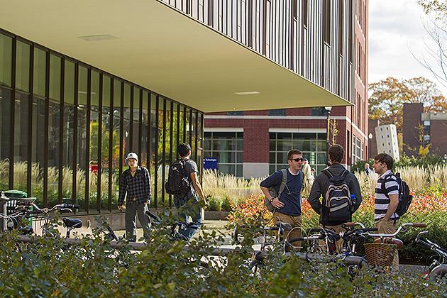 Male students talking outside of Laurel Hall on Oct. 9, 2012. (FJ Gaylor/UConn Photo)