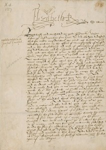Letter of command from Elizabeth I, Queen of England, to Sir Henry Sidney, Lord Deputy of Ireland, 1568. (Courtesy of the Folger Shakespeare Library)