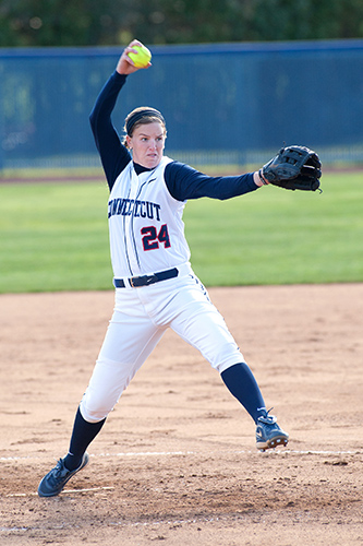 Senior pitcher Kiki Saveriano'13 (CLAS) will be the anchor of the softball team this season. (Steve Slade'89 (SFA) for UConn)
