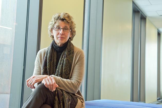 Christine Sylvester, professor of political science, in Oak Hall on Jan. 28, 2013. (Ariel Dowski '14 (CLAS)/UConn Photo)