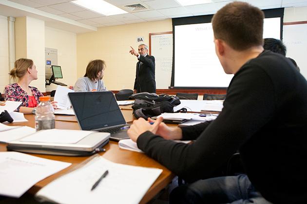 Professor of practice Hadi Borzogmanesh addresses the class. (Sean Flynn/UConn Photo)