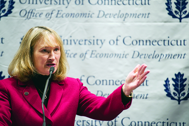 Mary Holz-Clause, UConn's Vice President for Economic Development, speaks during a press conference launching the Connecticut Small Business Development Center initiative. (Shana Sureck for UConn)
