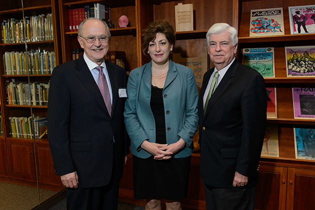 John G. Ruggie, left, the former United Nations Secretary-General's Special Representative for Business and Human Rights, President Susan Herbst and Former U.S. Sen. Chris Dodd pose for a photo before the nineteenth Raymond and Berverly Sackler Distinguished lecture at Konover Auditorium on Feb. 28, 2013. (Peter Morenus/UConn Photo)