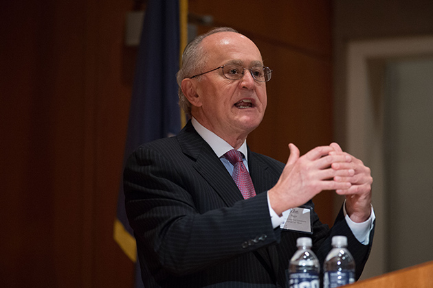 John G. Ruggie of the Kennedy School of Government at Harvard, speaks about his work developing the Guiding Principles for Business and Human Rights. (Peter Morenus/UConn Photo)