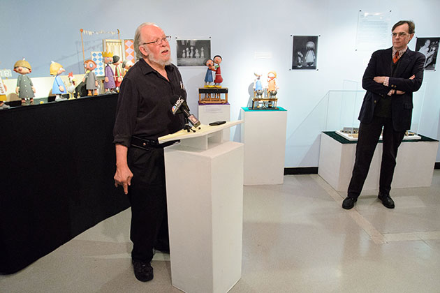 Bart Roccoberton, left, director of the puppets arts program, speaks on April 24, 2013 about the relocation this fall of the Ballard Institute & Museum of Puppetry to Storrs Center. At right is John Bell, director of the BIMP. (Peter Morenus/UConn Photo)