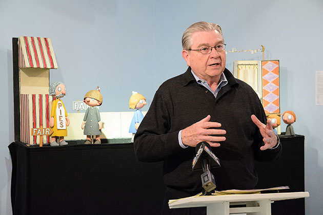 Louis G. Marquet, principal, LeylandAlliance LLC, speaks on April 24, 2013 about the relocation this fall of the Ballard Institute & Museum of Puppetry to Storrs Center. (Peter Morenus/UConn Photo)