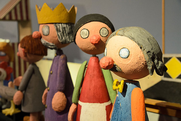 "Puppets of ""Simple Simon"" by Dick Myer on display at the Ballard Institute & Museum of Puppetry on April 24, 2013. (Peter Morenus/UConn Photo)"
