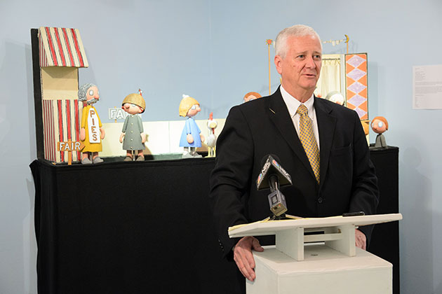 William Simpson, president and CEO of the UConn Co-op speaks on April 24, 2013 about the relocation this fall of the Ballard Institute & Museum of Puppetry to Storrs Center. (Peter Morenus/UConn Photo)