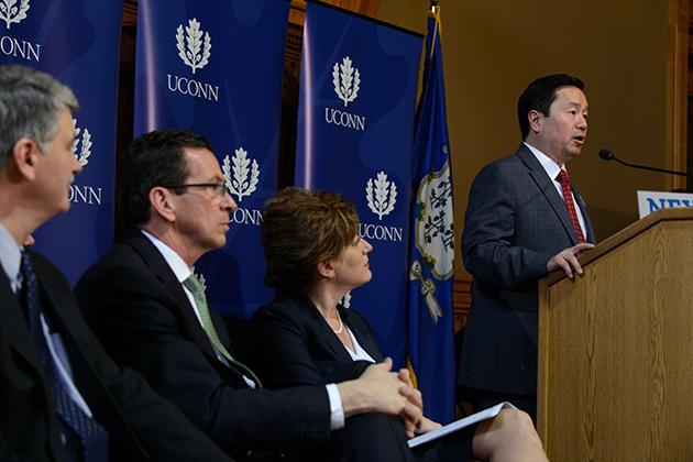Provost Mun Choi speaks at the Next Generation Connecticut event. (Peter Morenus/UConn Photo)