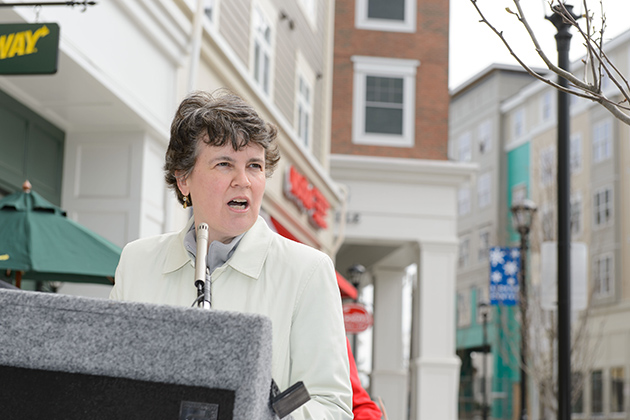 Cynthia van Zelm, executive director of the Mansfield Downtown Partnership. UConn is a member of the partnership, along with the town of Mansfield, local business owners, and members of the community. (Peter Morenus/UConn Photo)