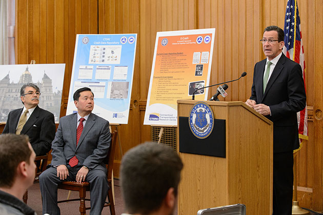 Gov. Dannel P. Malloy speaks at a press conference held at the state capitol on April 29 to announce formation of the Connecticut Transportation Safety Research Center at UConn. (Peter Morenus/UConn Photo)