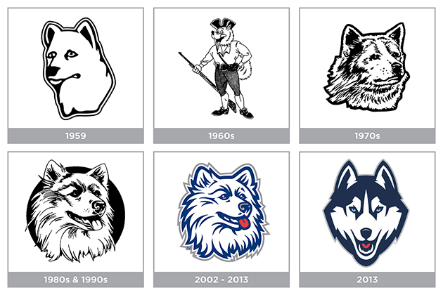 The evolution of the UConn Husky logo.