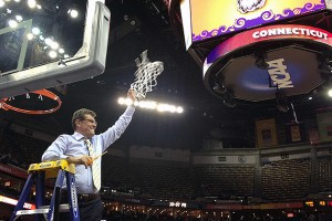 NCAA Championship Geno cutting net.
