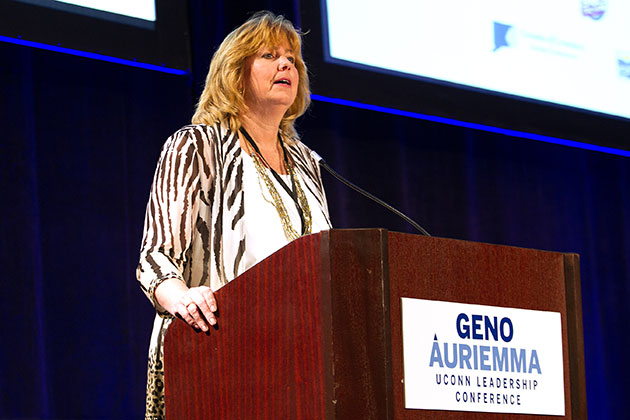 Lucy Gilson, associate professor of management in the UConn School of Business and academic director of the Leadership Conference, addresses the audience. The two-day event took place at the Mohegan Sun Convention Center in Uncasville, Conn. (Steve Slade '89 (SFA) for UConn)
