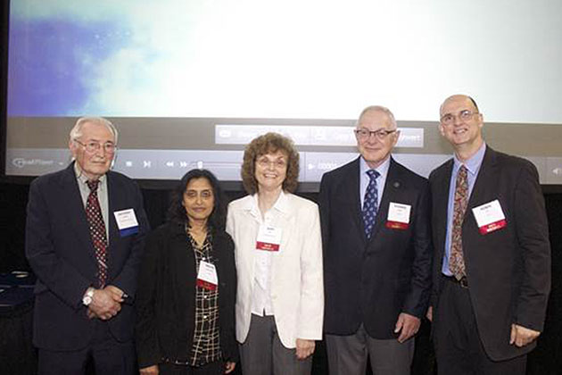 Distinguished professor-in-residence in electrical & computer engineering Anthony DeMaria, left, recipient of the 2013 CASE Distinguished Service Award, with new CASE members, from left, Nalini Ravishanker, professor of statistics, Suzy V. Torti, professor of molecular, microbial, and structural biology, Thomas J. Barber, professor-in-residence of mechanical engineering, and Robin Côté, professor of physics. Not shown are new members Wilson Chiu, professor mechanical engineering, Frank Torti, executive vice president for health affairs, J. Evan Ward, professor of marine sciences, and Mei Wei, professor of materials science and engineering. (Frank LaBanca for CASE)