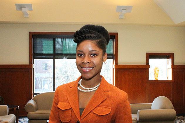 Nordia Meggie '15 (CLAS), a psychology major. (Jennifer Morenus '97 (SFA)/UConn Photo)
